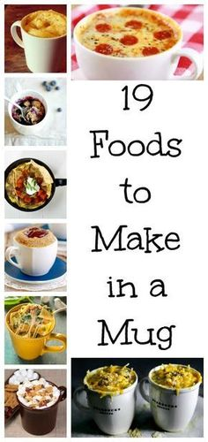 19 easy meals that you can make in minutes with a mug & a microwave! Whether you're looking for breakfast, lunch, dinner or dessert, we've got you covered!