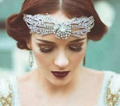 Gatsby style: The original houses which inspired F. Scott Fitzgerald, and the new film sets from The Great Gatsby 2013 1920s Wedding Hair, Wedding Headpiece Vintage, Great Gatsby Wedding, Art Deco Wedding, Vintage Bridal, Flapper Headpiece, 1920s Hair, Glamorous Wedding, Dress Wedding