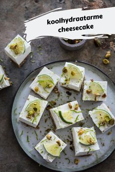 - The most delicious low-carb mini cheesecake with lime and pistachio nuts. Would you like to eat low - Gluten Free Donuts, Gluten Free Pumpkin, Gluten Free Desserts, Raw Food Recipes, Low Carb Recipes, Baking Recipes, Healthy Cake, Healthy Sweets, Low Carb Cheesecake