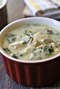 Paleo Creamy Chicken & Spinach Soup Recipe plus 49 more Paleo soup recipes on MyNaturalFamily.com