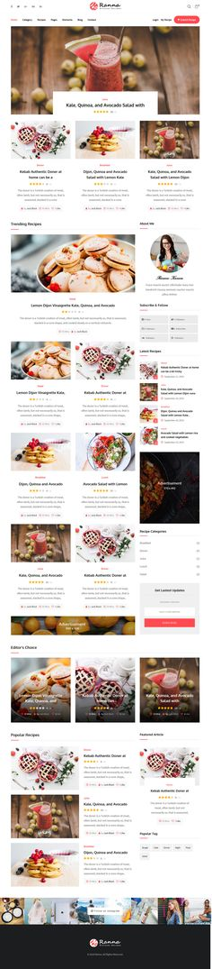 Ranna is a beautifully clean and contemporary WordPress theme for food and recipe blogs. We have included features and premade elements to give you the perfect website on which to express your passion for delicious dishes. Recipe Blogs, Recipes, Professional Wordpress Themes, Delicious Dishes, Wordpress Plugins, Author, Passion, Contemporary, Website