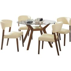 This dining group has a simple glass top with a sturdy base. Channeled back padded Breuer's style chairs create an excellent look for bachelor's pad or apartments. The modern design has a retro feel that cradles comfort with its beautiful curves. The chair's angled wing back shape is finished in nutmeg and offered in cream leatherette.