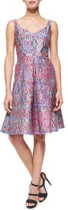 Nanette Lepore Machu Picchu Sleeveless V-Neck Printed Midi Dress