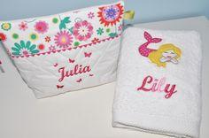 Box cadeau:Trousse de toilette + serviette sirène personnalisées brodée pour naissance,anniversaire,noel : Puériculture par lbm-creation