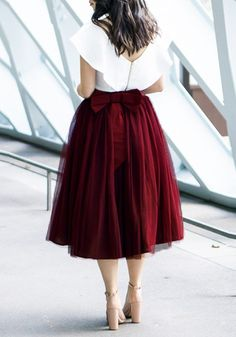 waisted bow skirt Burgundy Grenadine Bow Pleated Tulle Tutu High Waisted Homecoming Party Sweet Skirt Sum All Chic, Shop Burgundy Grenadine Bow Pleated Tulle Tutu High Waisted Homecoming Party Sweet Skirt online. Modest Outfits, Classy Outfits, Skirt Outfits, Modest Fashion, Dress Skirt, Fashion Dresses, Bow Skirt, Pleated Skirt, Elegant Outfit