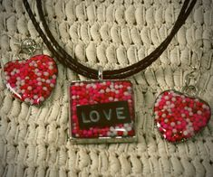 Resin jewelry made with pink, red and white candy sprinkles for Valentine's Day -- very cute necklace and earrings!