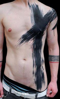 Blackwork paintbrush strokes by Volko Merschky & Simone Pfaff @buenavistatattooclub