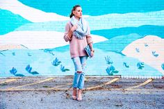 Forever 21 Blush Sweater and Gray Scarf - Gold Lion Style