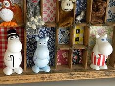 Love these mini collection shelves - Monty would love the wooden Moomin figures.