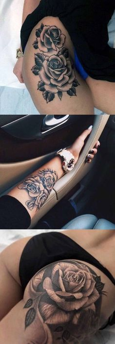 Realistic Black Rose Flower Floral Thigh Leg Arm Wrist Bum Tattoo Ideas for Women at MyBodiArt.com #AwesomeTattoos #TattooIdeasFlower #TattooIdeasForWomen