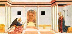 Domenico Veneziano, Annonciation, Pala di Santa Lucia dei Magnoli, predella 3, 1445, (Fitzwilliam Museum, Cambridge) - (wikipedia.org, CC-PD-Art)