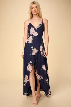 The Lulus Loiselle Navy Blue Floral Print Polka Dot Wrap Maxi Dress is here to have some fun! Lightweight floral and polka dot print high-low wrap maxi dress. Dresses For Teens, Dresses For Sale, Cute Dresses, Dresses Online, Dresses With Sleeves, Women's Dresses, Wrap Dresses, Long Dresses, Casual Dresses