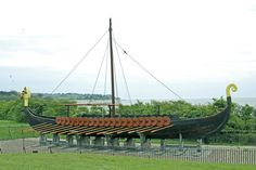 A replica of a Viking ship sits at Pegwell Bay in Kent, England.