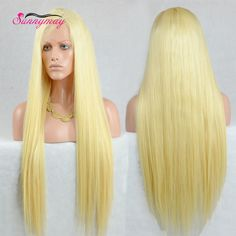 Top Quality 10A Grade Peruvian Virgin Hair Lace Front Wig Straight Blonde 613# Color Full Lace Human Hair Wigs In Stock