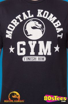 Mortal Kombat Gym T-Shirt: Mortal Kombat Mens T-Shirt This popular video game is designed and illustrated to include the logo and gym name.
