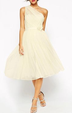 Sweet One Shoulder A Line Flowers Waist Chiffon Party Dresses