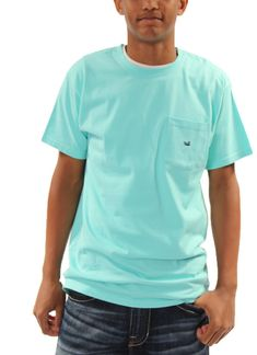 Embroidered T-shirt in Antigua Blue with Navy Duck in Southern Marsh