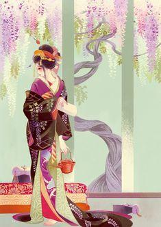 matsuo hiromi, anime, and anime girl image マツオヒロミ Geisha Kunst, Geisha Art, Geisha Anime, Art And Illustration, Character Illustration, Anime Kimono, Japanese Painting, Japanese Art, Oriental