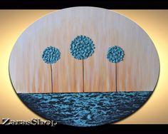Moderne Kunst für Kinder Zimmer Wand Dekor mit einzigartigen schweres Impasto texturierte abstrakt blau Lutscher Bäume Artwork. Verwandeln Sie jede