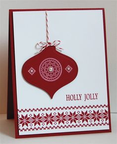 Beautiful Christmas ornament. Love the use of the Nordic stamp border. (May be Stampin'Up)