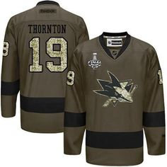 NHL San Jose Sharks Joe Pavelski 2016 Stanley Cup Green Salute To Service  Reebok Hockey Jersey 2aca00716