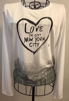 Womens SOFT & SEXY White Long Sleeve Tee Shirt Medium Love New York City AEO Top #AmericanEagleOutfitters #KnitTop