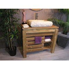 Meuble de salle de bain en teck ZEN 85cm Start Up Business, Zen, Entryway Bench, How To Introduce Yourself, Basin, Printables, Storage, Furniture, Home Decor