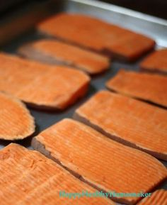Oven Dried Sweet Potato Dog Chews   Ingredients: 1+ fresh raw sweet potato 1 baking sheet with parchment paper  Directions: 1. Wash the swee...