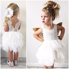 Bridesmaids dress for girls from 0 to 14 years old - Trend Girls Party 2019 Girls Bridesmaid Dresses, Baby Girl Party Dresses, Wedding Flower Girl Dresses, Little Girl Dresses, Baby Dress, Girls Dresses, Low Key Wedding Dress, Rustic Flower Girls, Wedding With Kids