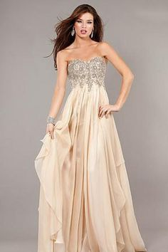 2013 Prom Dresses Empire Waist Floor Length Champagne Sweetheart Chiffon Beading & Sequins