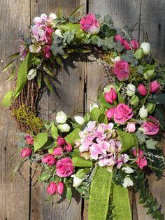 Spring Wreath Tulip Wreath Summer Wreath Front by KathysWreathShop, $89.99