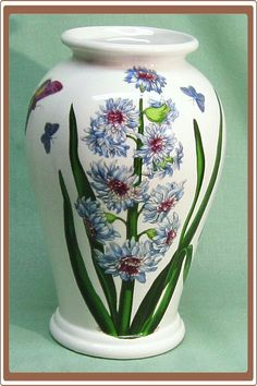 Vintage Portmeirion Botanic Garden Vase Blue Flowers and Butterflies