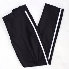Zara • Side Stripe Black Trousers Gently loved, great condition! Size small and I'm a size 2 and they're big on me in the waist, would fit a size 4.   Hips: 30 Inseam: 28  ❌No trades ❌No PayPal ❌No asking for the lowest price Zara Pants Trousers