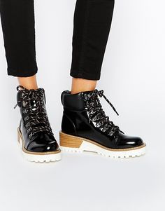 Monki Patent Hiker Boots