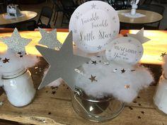 Twinkle Twinkle Little Star Centerpieces www.wonderfullymadeevents.com #twinkletwinklelittlestar #howwewonderwhatyouare #genderreveal