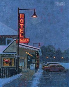 """Daily Paintworks - """"Snowy Night"""" - Original Fine Art for Sale - © Donald Curran"""