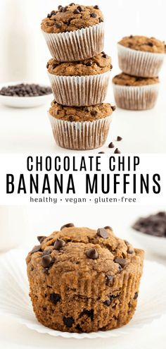 This vegan banana chocolate chip muffins recipe is healthy gluten-free and so easy! They are fluffy moist and naturally sweetened. These are the BEST muffins made with oatmeal almond flour coconut sugar and no eggs. Great for both kids and adults! Healthy Vegan Desserts, Vegan Dessert Recipes, Protein Desserts, Homemade Desserts, Vegan Treats, Muffin Recipes, Baking Recipes, Free Recipes, Simple Muffin Recipe