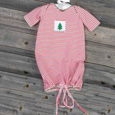 Unisex Smocked Christmas Tree Daygown Red & White Knit