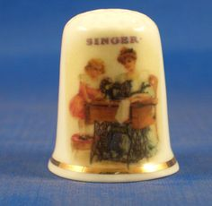 FINE-PORCELAIN-CHINA-THIMBLE-SINGER-MOTHER-AND-DAUGHTER-FREE-GIFT-BOX