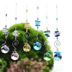H&D Rainbow Octagon Hanging Ball Pendant Crystal Prism Suncatcher Beaded Crafts, Beaded Ornaments, Wire Crafts, Feng Shui, Hanging Crystals, Diy Crystals, Black Crystals, Diy Wind Chimes, Hanging Pendants