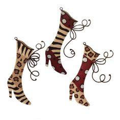 "RAZ Flocked Animal Print Boot Ornament Set of 3  Set includes 3 Assorted Styles Made of Tin Measures 8"" X 4.5"" Artist: S.E. Hagarman Designs   RAZ Exclusive  RAZ Christmas Catwalk Collection"