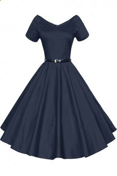 Women 1950s V-Neck Vintage Rockabilly Swing Evening Party Dress shareasale.com/...