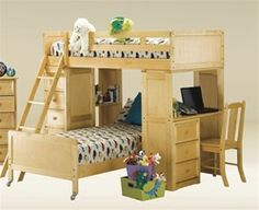 Student Twin Loft Bed w/ Desk and Chest In Birch Natural Finish Bunk Bed With Desk, Loft Bunk Beds, Kids Bunk Beds, Junior Loft Beds, Loft Bed Plans, Purple Bedrooms, Bunk Bed Designs, Loft Spaces, Small Spaces