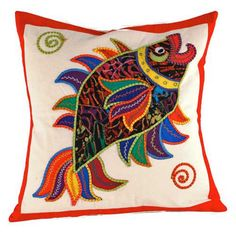 """This pillow cover, with exquisite needlework that creates a remarkably rich and vibrant design, complements any chair, sofa, or bed. Size 16"""" sq.  Produced in Sri Lanka"""