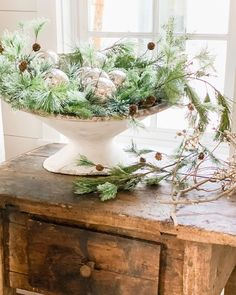 This fabulous French planter is holding my favorite Mercury Christmas balls.❄️ It's nice to have them nearby while I've got a horrible cold… Cottage Christmas, White Christmas, Cozy Christmas, Tree House Decor, Christmas Floral Arrangements, Vintage Wreath, Christmas Balls, How To Make Wreaths, Winter Holidays
