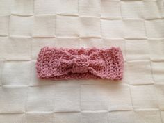 Pink crocheted baby headband on Etsy, $12.00 CAD