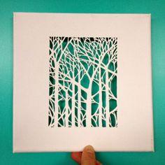 Toile découpée avec forêt / Cut out canvas with trees