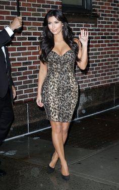 Hot leopard dress on Kim Kardashian
