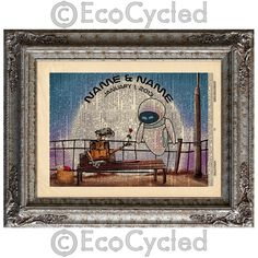 New to EcoCycled on Etsy: Wall-E & Eve with Names and Date 1 on Vintage Upcycled Dictionary Art Print Book Art Print Anniversary Wedding Robots Sci Fi Science Fiction (15.50 USD)