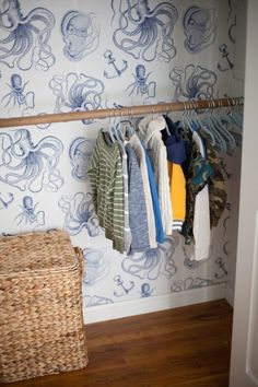 Home // Kids' Closet Makeovers & Tips for Installing Removable Wallpaper - Lauren McBride Decorating Your Home, Diy Home Decor, Kid Closet, Room Closet, Kids Room Wall Decals, Bathroom Kids, Downstairs Bathroom, Diy Wallpaper, Home Decor Inspiration